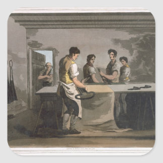 Cloth Dressers, from `Costume of Yorkshire' engrav Square Sticker