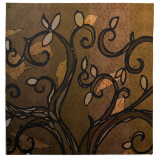 Cloth Napkin Set - 'Leave' Fall Brown