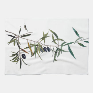 Cloth of kitchen with watercolor of olive tree