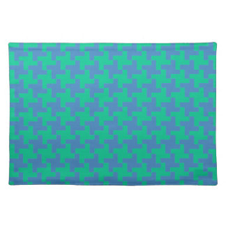 Cloth Place Mat, Emerald Green and Blue Dogtooth Placemat