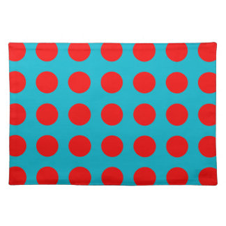 Cloth Place Mat with Red Polka-Dots