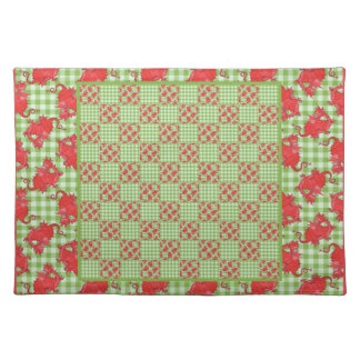 Cloth Placemat: Cute Red Dragons, Green Gingham Placemat