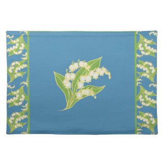 Cloth Placemat: Lilies of the Valley on Blue Placemat