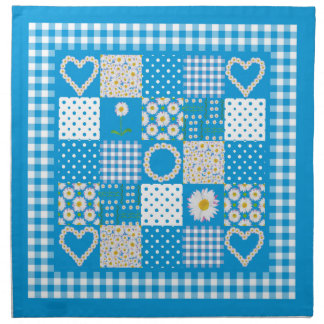 Cloth Table Napkins: Daisychains Faux Patchwork Printed Napkins