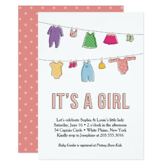 Clothes Line Baby Shower Invitation, Girl Card