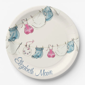 Clothes Line Baby Shower Paper Plate