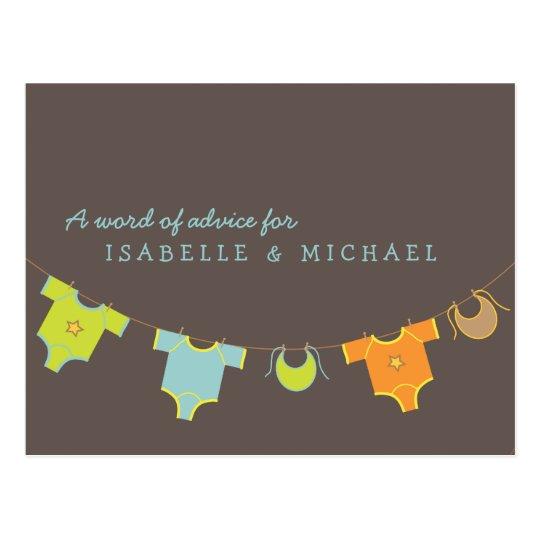 Clothesline Baby Shower Advice Card Blue | Green