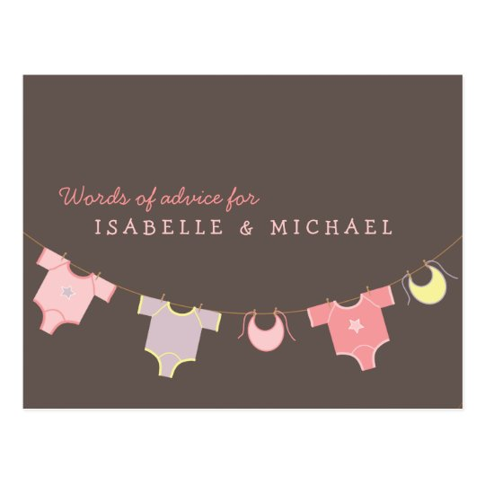 Clothesline Baby Shower Advice Card Pink | Lilac