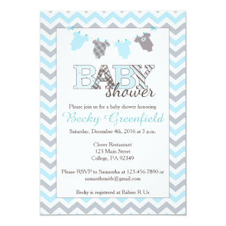 Clothesline Baby Shower Invitations for a Boy