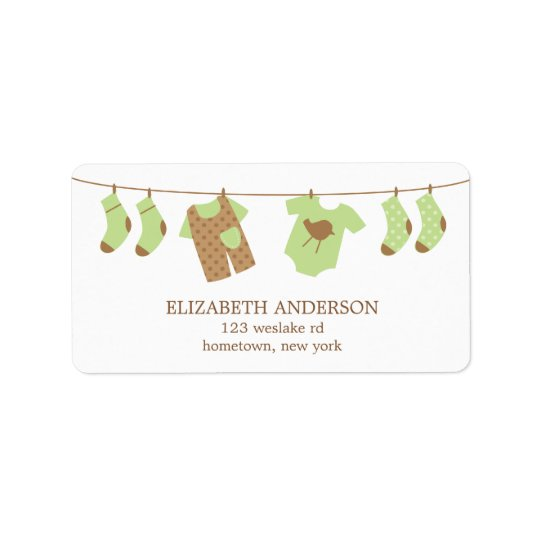 Clothesline Baby Shower Labels