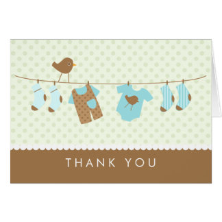 Clothesline Baby Shower Thank You Cards