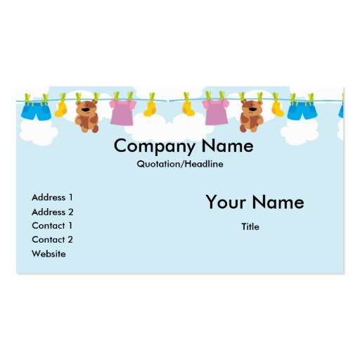Clothesline Business Cards Business Card Template