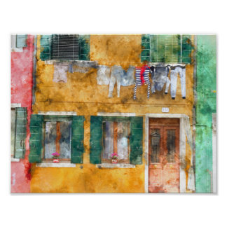Clothesline on a Building in Burano Italy Poster