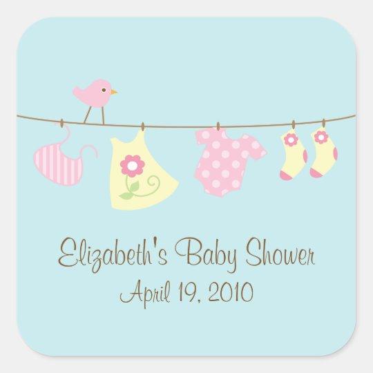 Clotheslines Baby Girl Baby Shower Sticker