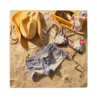 Clothing Left Behind On Beach Wood Coaster