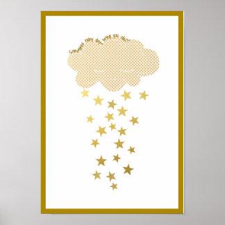 Cloud and Stars Nursery Print