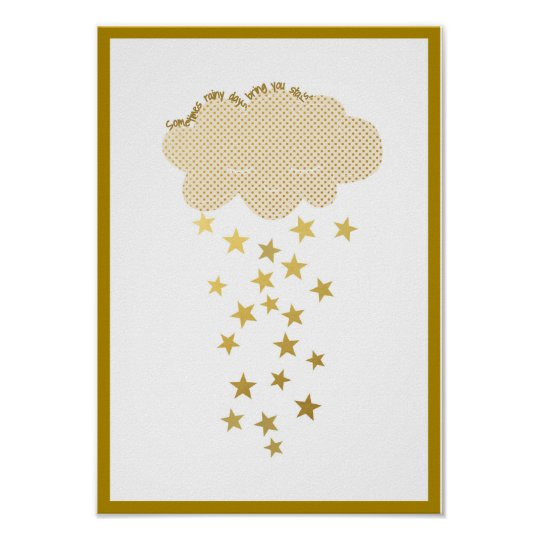 Cloud and Stars Nursery Print