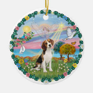 Cloud Angel #1B - Beagle Christmas Ornament