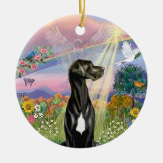 Cloud Angel - Black Great Dane (Natural ears) Christmas Ornament