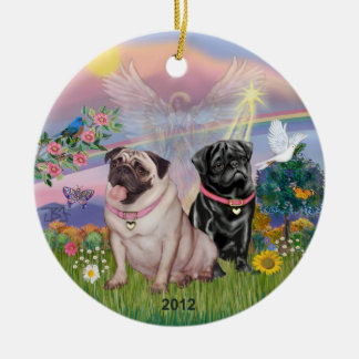 Cloud Angel - Two Girl Pugs Round Ceramic Decoration