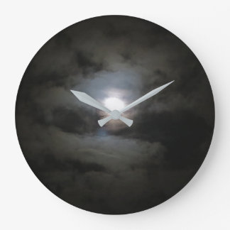 Cloud covered moon wall clock