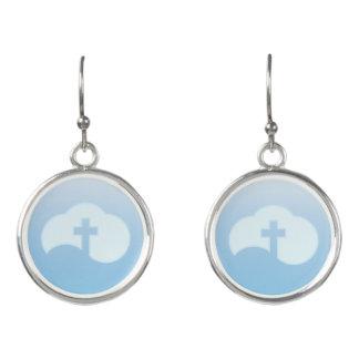 Cloud Cross (blue) Earrings