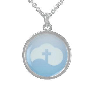 Cloud Cross (blue) Sterling Silver Necklace