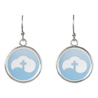 Cloud Cross (gray) Earrings