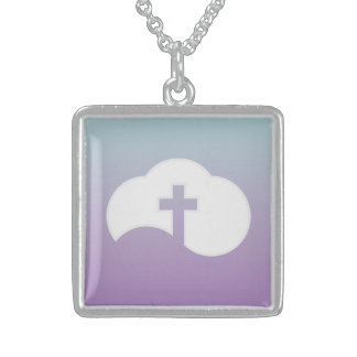 Cloud Cross (gray) Sterling Silver Necklace