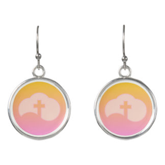Cloud Cross (peach) Earrings