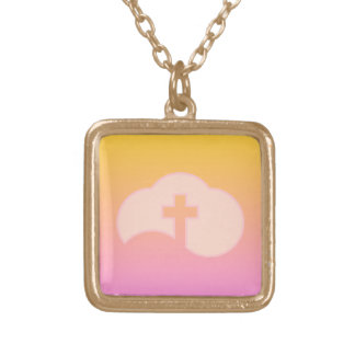 Cloud Cross (peach) Gold Plated Necklace