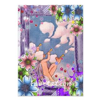 Cloud Faeries With Flowers 13 Cm X 18 Cm Invitation Card