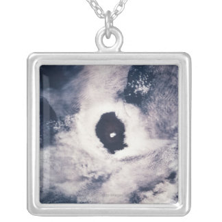 Cloud formation over the earth silver plated necklace