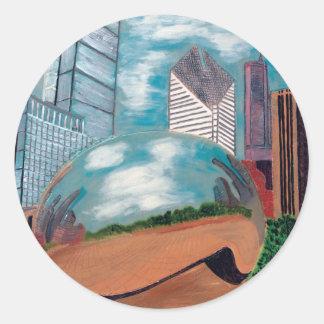Cloud Gate in Millennium Park Round Sticker