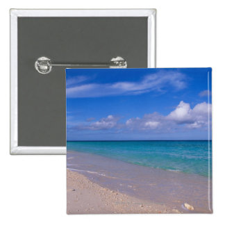 Cloud in blue sky over sandy beach 15 cm square badge