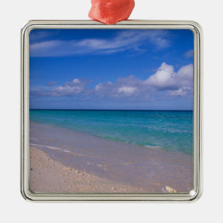 Cloud in blue sky over sandy beach Silver-Colored square decoration