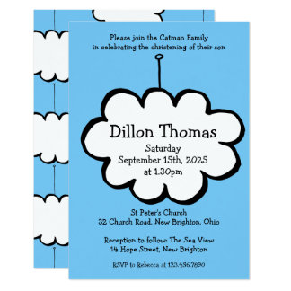Cloud on a String Christening Invitation