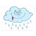 Cloud Raining Mascot Cartoon Character Postcard