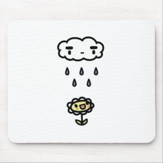 Cloud Raining On Happy Flower Mouse Pad