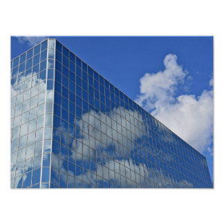 cloud reflection in glass skyscraper poster