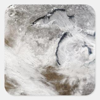 Cloud streets over Lake Superior and Lake Michi Square Sticker