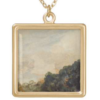 Cloud Study with Trees, 1821 (oil on paper laid do Gold Plated Necklace