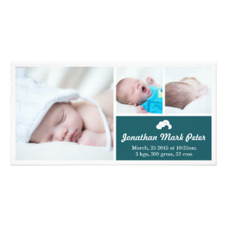 Cloud Teal Birth Announcement Photo Card