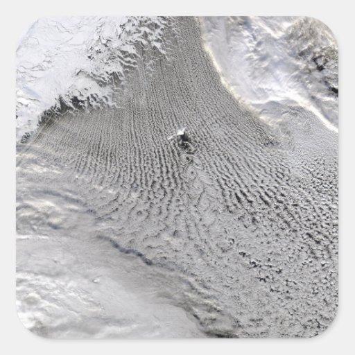 Cloud vortices off Jan Mayen Island Square Stickers