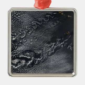 Cloud vortices over the Cape Verde islands Silver-Colored Square Decoration