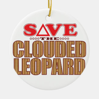 Clouded Leopard Save Christmas Ornament