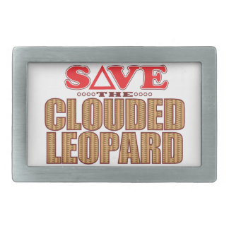 Clouded Leopard Save Rectangular Belt Buckles