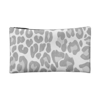 Clouded Leopards on a Log Pouch -- Gray Cosmetic Bags