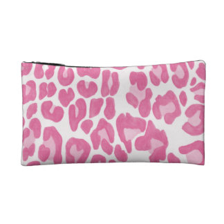 Clouded Leopards on a Log Pouch -- Magenta Cosmetic Bags