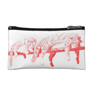 Clouded Leopards on a Log Pouch -- Red Cosmetic Bags